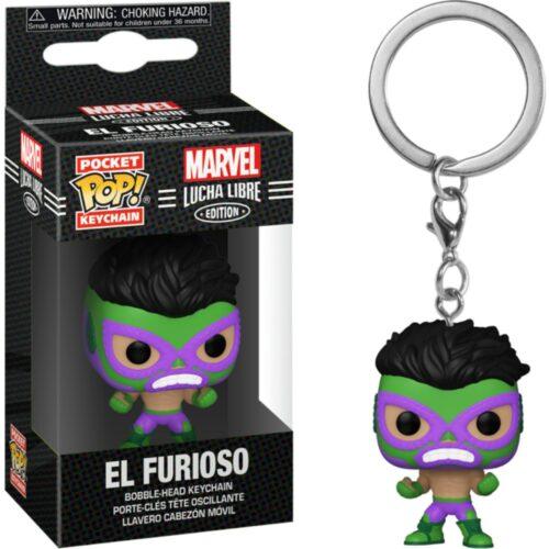POP! Pocket Keychain: Marvel Lucha Libre Edition – El Furioso Bobble-Head Vinyl