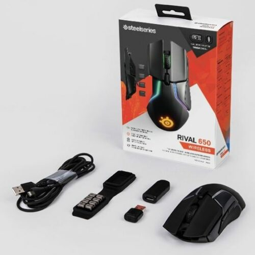 SteelSeries Wireless, Gaming mouse, Y,  Rival 650, SteelSeries TrueMove3+ Dual Sensor System. Primary Sensor – TrueMove 3 Optical Gaming Sensor; Secondary Sensor – Depth Sensing Linear Optical Detection, Yes, RGB LED light