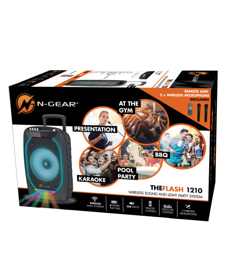 N-Gear Bluetooth speaker The Flash 1210 Bluetooth, Portable, Wireless connection, Black