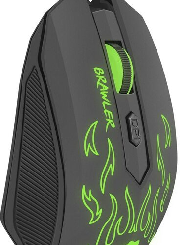 FURY Brawler Optical Gaming mouse, 1600DPI, Wired, Black/Green