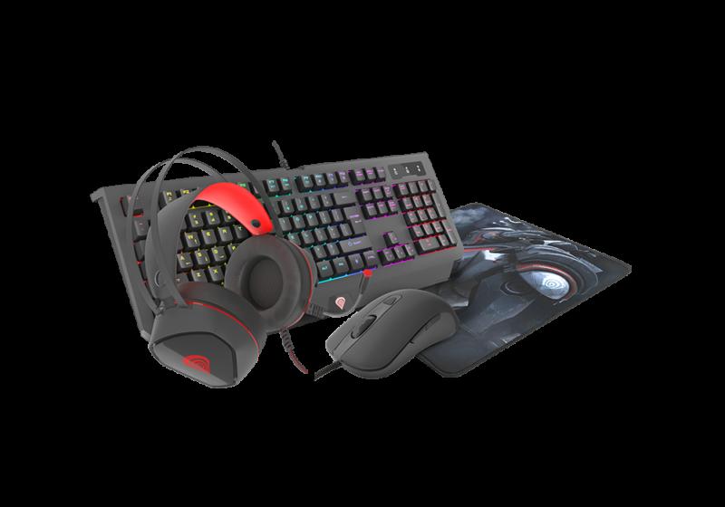GENESIS COMBO set 4in1 cobalt 330 rgb keyboard + mouse +headphones + mousepad, us layout