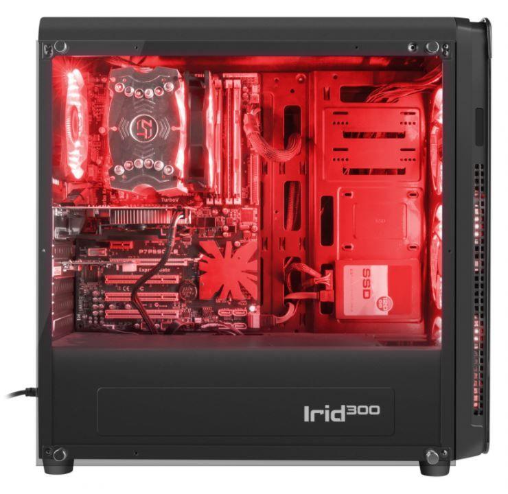 GENESIS IRID 300 Pc case, Midi tower, USB 3.0, Red