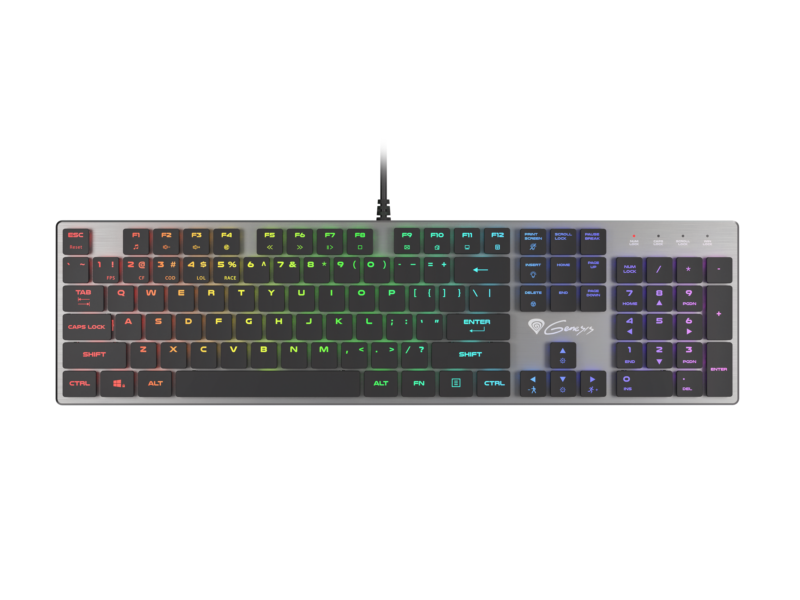GENESIS THOR 420 Gaming Keyboard, US Layout, Wired, Silver