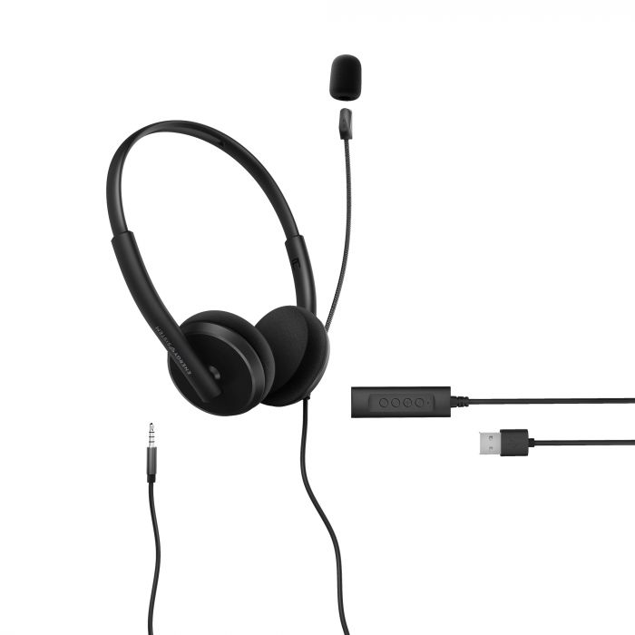 Energy Sistem Headset Office 2+ Black, USB and 3.5 mm plug, volume control, retractable boom mic.