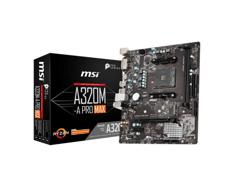 MSI A320M-A PRO MAX Processor family AMD, Processor socket AM4, DDR4, Memory slots 2, Supported hard disk drive interfaces SATA, M.2, Number of SATA connectors 4, Chipset AMD A, ATX