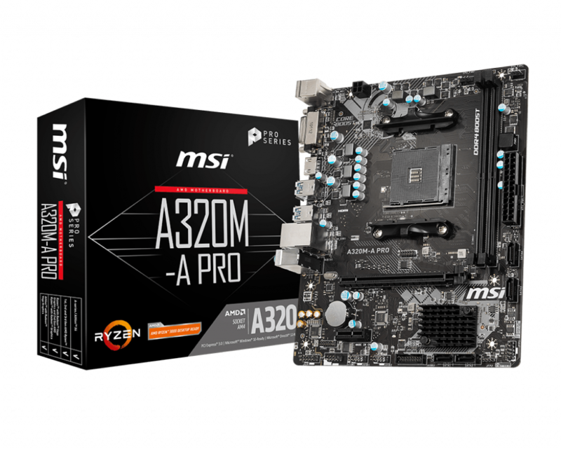MSI A320M-A PRO Processor family AMD, Processor socket AM4, DDR4, Memory slots 2, Supported hard disk drive interfaces SATA, M.2, Number of SATA connectors 4, Chipset AMD A, ATX