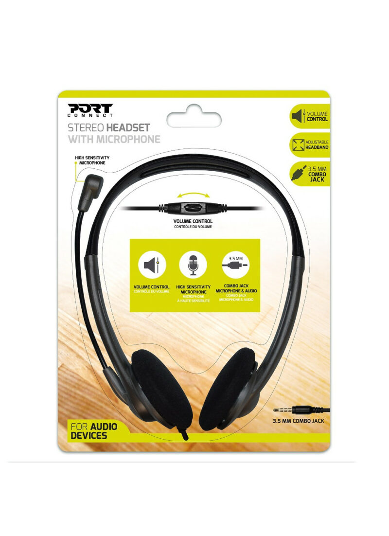 PORT DESIGNS Stereo Headset With Microphone Built-in microphone, Black, Over-Ear