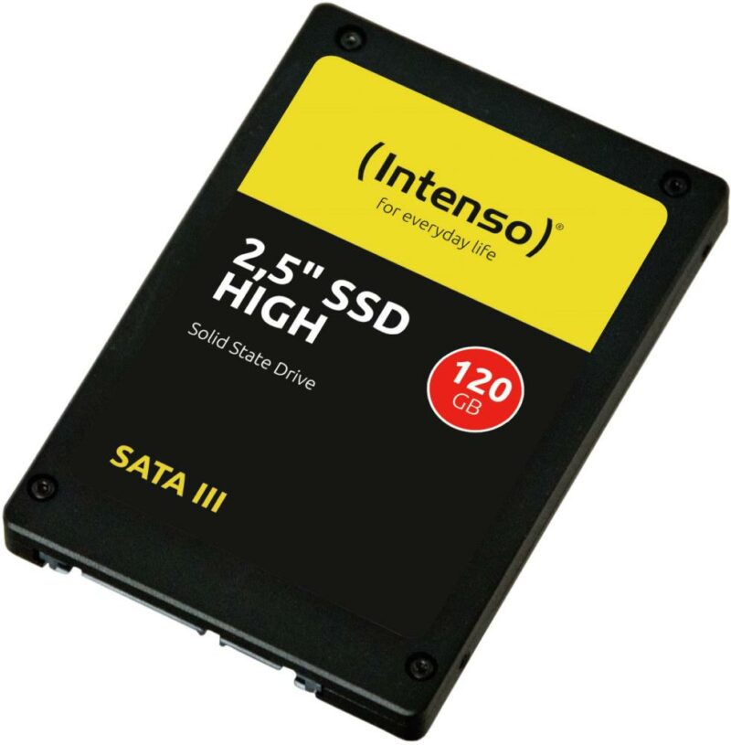 SSD|INTENSO|120GB|SATA 3.0|Write speed 480 MBytes/sec|Read speed 520 MBytes/sec|2,5″|3813430