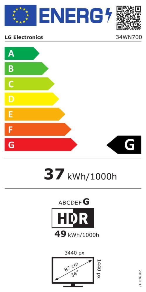 LCD Monitor LG 34WN700-B 34″ Panel IPS 3440×1440 21:9 75Hz Matte 5 ms Tilt 34WN700-B