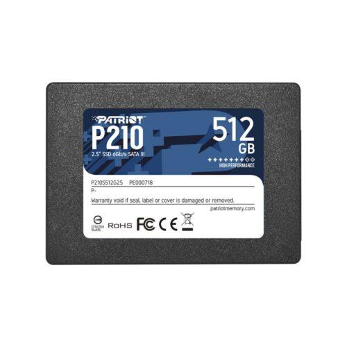 SSD|PATRIOT|P210|512GB|SATA 3.0|Write speed 430 MBytes/sec|Read speed 520 MBytes/sec|2,5″|P210S512G25