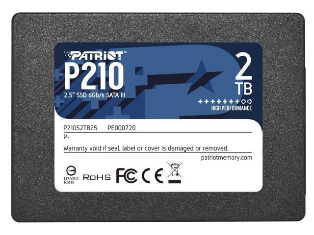 SSD|PATRIOT|P210|2TB|SATA 3.0|Write speed 430 MBytes/sec|Read speed 520 MBytes/sec|2,5″|P210S2TB25