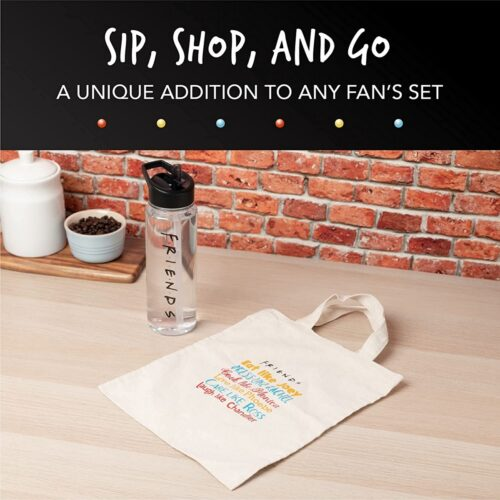 Gift Set: Friends – Water Bottle (600ml) and Tote Bag